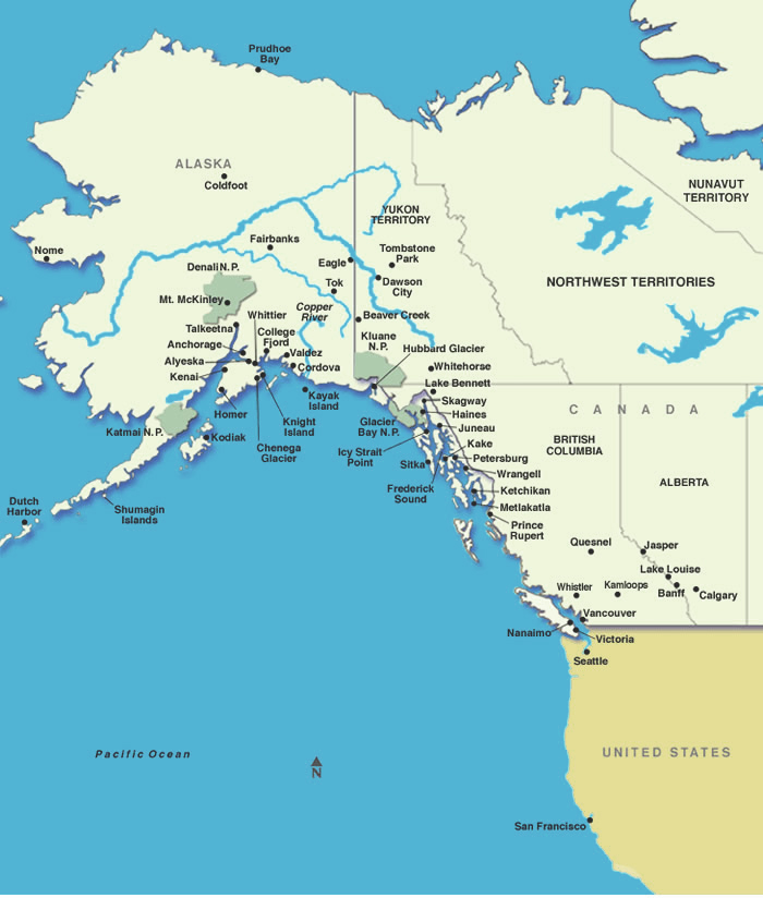 Alaska Cruises Map Of Alaska And Western Canada